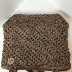 The Sac crocheted square tan purse